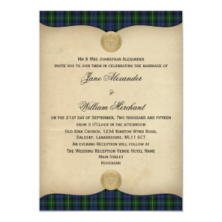 Vintage Gordon Tartan Plaid Wedding Invitations