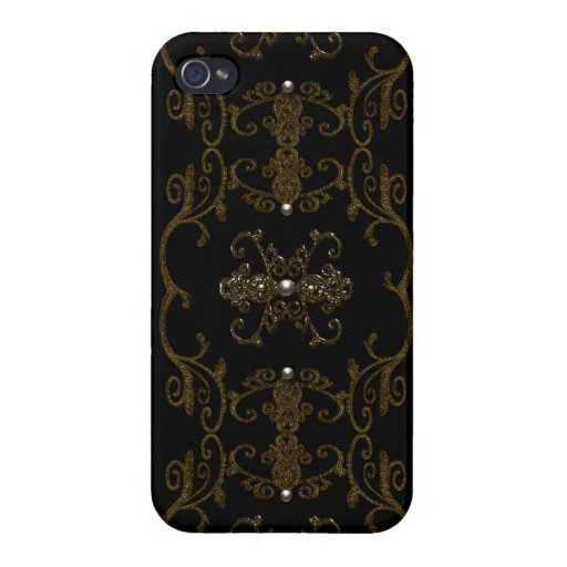 Vintage Gothic Elegance Jewels Cover For iPhone 4