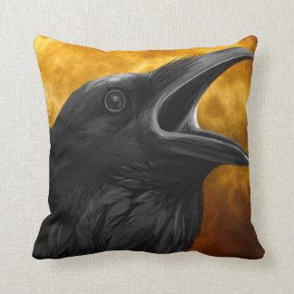 Vintage Gothic Halloween Large Black Raven Bird Cushion