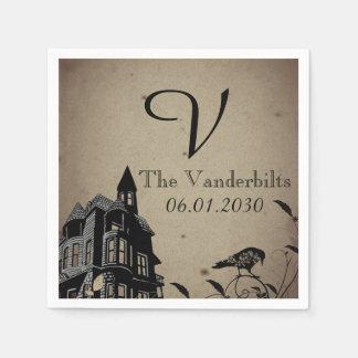 Vintage Gothic House Monogram Wedding Disposable Napkin