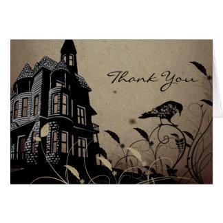 Vintage Gothic House Wedding Thank You Card