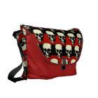Vintage Gothic  punk skulls on red  black stripes Commuter Bag