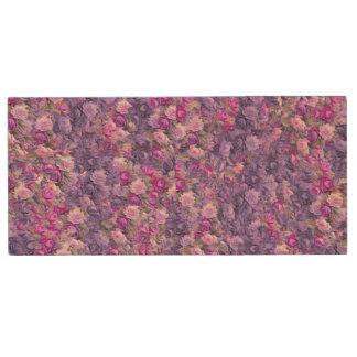 Vintage Gothic Rose Lavender Purple Wood USB 2.0 Flash Drive