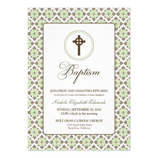 Vintage Grace Baptism 5x7 Invitation (brown/sage)