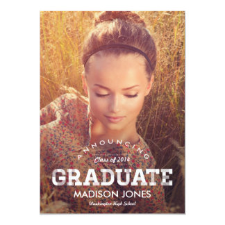 "Vintage Grad Graduation Invitation - Craft 5"" X 7"" Invitation Card"