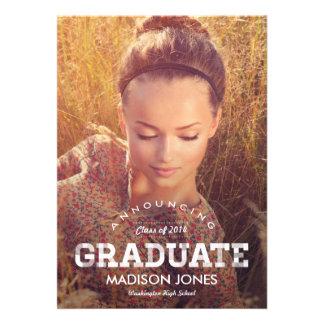 Vintage Grad Graduation Invitation - Wood Personalized Announcements