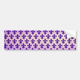 Vintage gradient blue fleur de lis pattern bumper sticker
