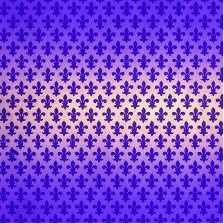 Vintage gradient blue fleur de lis pattern standing photo sculpture