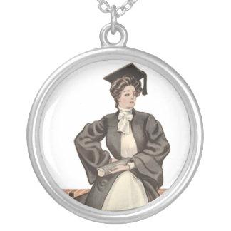 Vintage Graduate Round Pendant Necklace
