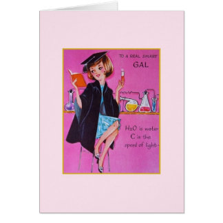 Vintage Graduation Card for Female Science Major