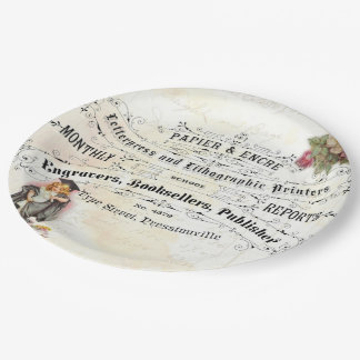 Vintage Graduation Cute Girl Graduate Party Plates 9 Inch Paper Plate
