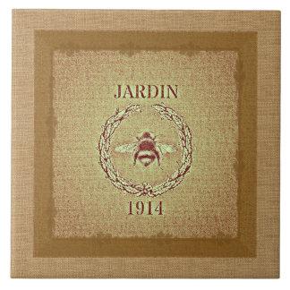Vintage Grain Sack Burlap Look Bee Decorative Tile