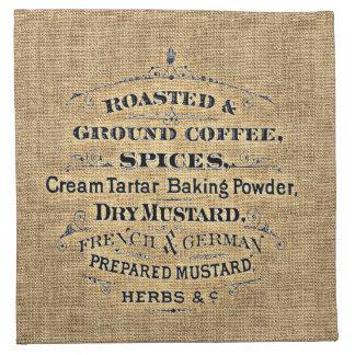 Vintage Grain Sack Style Grocery Store Sign Burlap Napkin
