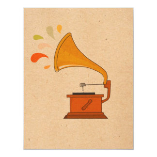 """vintage grammophone with music splashes on brown 4.25"""" x 5.5"""" invitation card"""