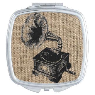 Vintage Gramophone Burlap Vanity Mirror