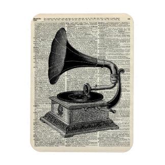 Vintage gramophone rectangular photo magnet