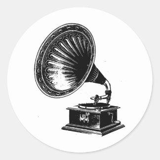 Vintage Gramophone Round Sticker