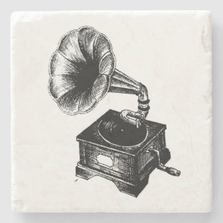 Vintage Gramophone Stone Coaster