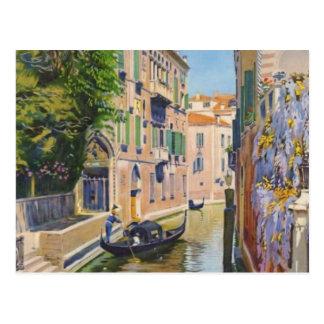 Vintage Grand Canal Gondolas Venice Italy Travel Postcard