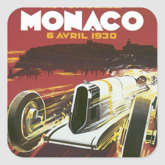 Vintage Grand Prix Monaco Square Sticker