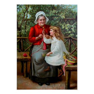 Vintage Grandmother and Granddaughter on Bench Poster