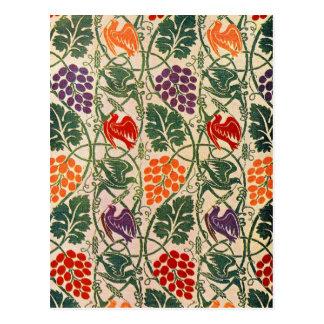 Vintage Grape and Vine Wallpaper Pattern Postcard