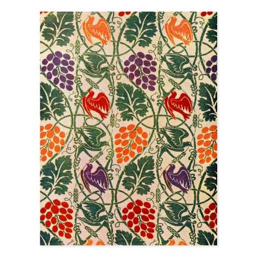 Vintage Grape and Vine Wallpaper Pattern Post Card