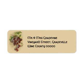 Vintage grapes return address label