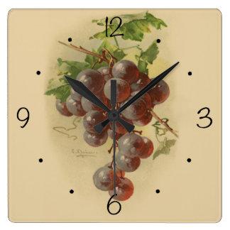 Vintage grapes square wall clock
