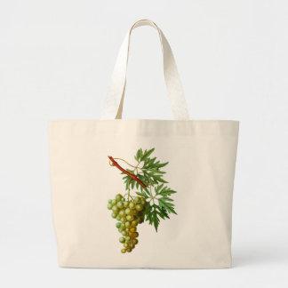 Vintage Grapevine Grapes Leaf Yellow Plant Vinyard Large Tote Bag