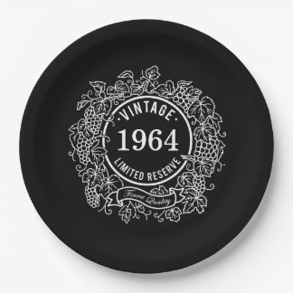 Vintage Grapevine Wine Stamp, Add Birth Year 9 Inch Paper Plate