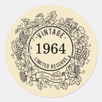 Vintage Grapevine Wine Stamp, Add Birth Year Round Sticker