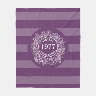 Vintage Grapevine Wine Stamp Birth Year Purple Fleece Blanket