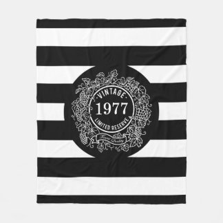 Vintage Grapevine Wine Stamp Birth Year Stripes Fleece Blanket