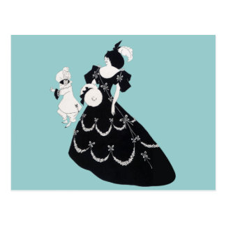 Vintage Graphic Bold Aubrey Beardsley Woman Man Postcard