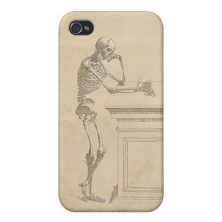 Vintage Graphic Forlorn Skeleton Standing at a Bar iPhone 4 Cover