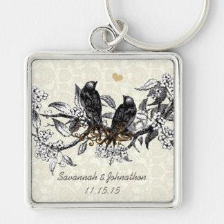 Vintage Gray Birds Hand Drawn Blooms Key Chain