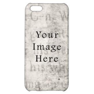 Vintage Gray Black Script Text Parchment Paper Cover For iPhone 5C
