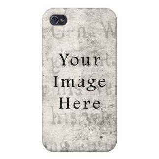 Vintage Gray Black Script Text Parchment Paper iPhone 4/4S Cases