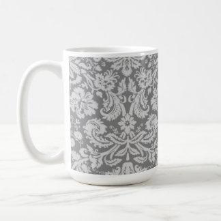 Vintage Gray Damask Basic White Mug