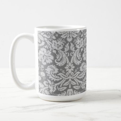 Vintage Gray Damask Coffee Mugs