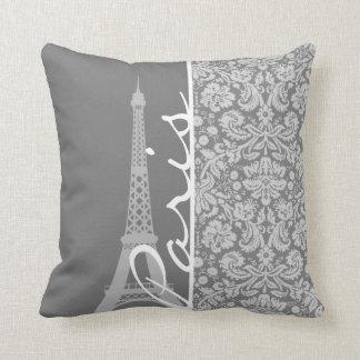 Vintage Gray Damask Paris Cushion