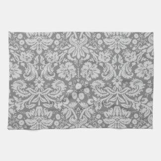Vintage Gray Damask Tea Towel