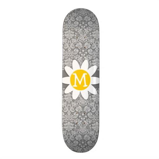 Vintage Gray Damask with Daisy Custom Skateboard