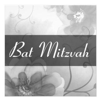 Vintage Gray Flowers Swirl Bat Mitzvah Invitation