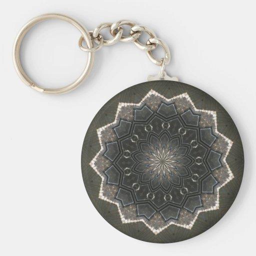 Vintage Gray Sunburst design Key Chains