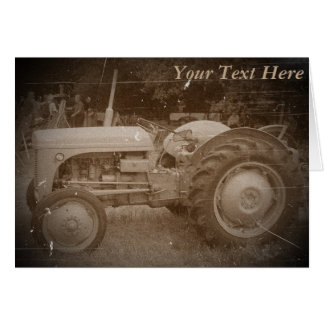 Vintage Gray tractor retro photograph Card
