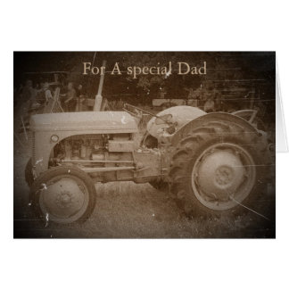 Vintage Gray tractor retro photograph dad Card