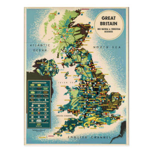Vintage Great Britain Resources Map Postcard
