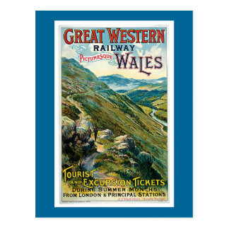 Vintage Great Western Railway Travel Poster Postcard